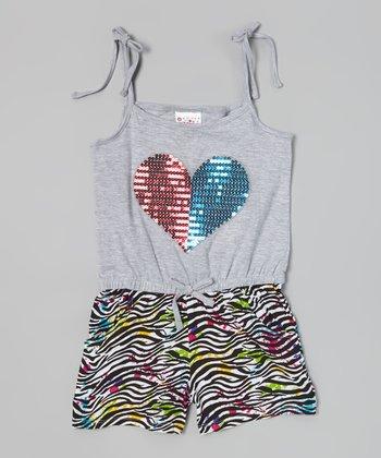 Gray Zebra Sequin Heart Romper - Infant, Toddler & Girls
