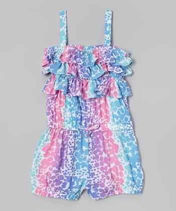 Pink & Blue Spot Ruffle Romper - Infant & Girls