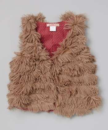 Brown Faux Fur Tiered Vest - Toddler & Girls