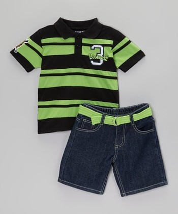 Green & Black Polo & Belted Shorts - Infant, Toddler & Boys