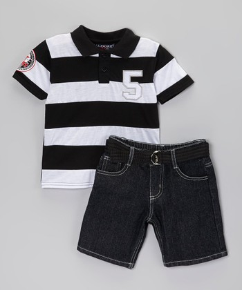 Black Polo & Belted Shorts - Infant, Toddler & Boys