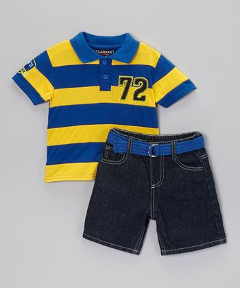 Royal Blue & Yellow Polo & Belted Shorts - Infant, Toddler & Boys