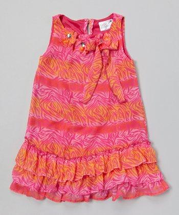 Magenta & Orange Zebra Stripe Ruffle Dress - Toddler & Girls