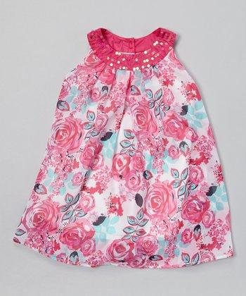 Fuchsia Floral Swing Dress - Toddler & Girls