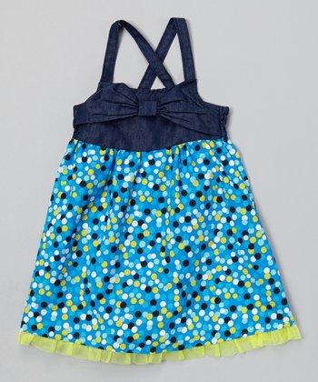 Sapphire Denim Polka Dot Babydoll Dress - Toddler & Girls