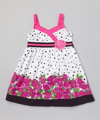 White & Fuchsia Rose Surplice Dress - Infant, Toddler & Girls