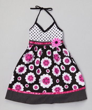 Black & Magenta Flower Halter Dress - Infant, Toddler & Girls