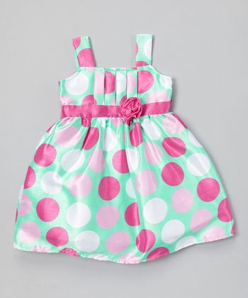Mint & Rose Polka Dot Pleated Dress - Toddler