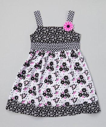 White & Black Floral A-Line Dress - Toddler & Girls