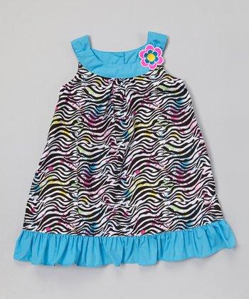 Cyan Zebra Ruffle Swing Dress - Infant, Toddler & Girls