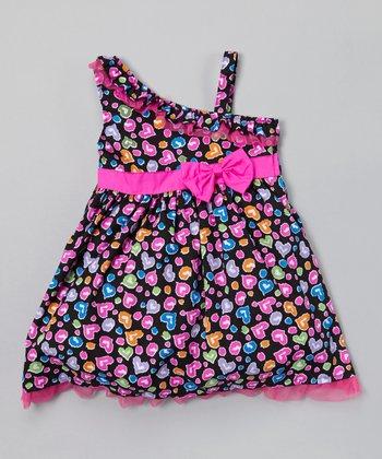 Black & Magenta Asymmetrical Dress - Infant, Toddler & Girls
