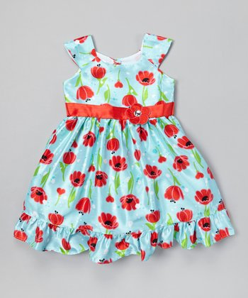 Light Blue Tulips A-Line Dress - Infant, Toddler & Girls