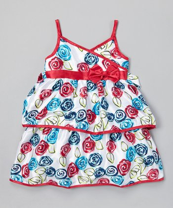 White & Red Ruffle Surplice Dress - Infant, Toddler & Girls