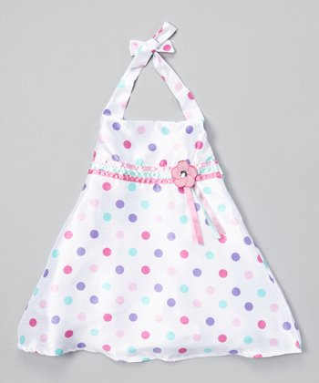 White Polka Dot Ribbon Halter Dress - Infant & Toddler
