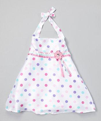 White Polka Dot Ribbon Halter Dress - Infant & Toddler