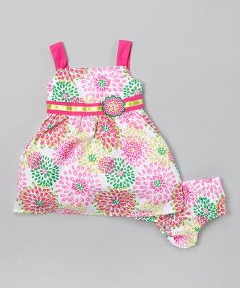 Magenta & Lime Dress & Diaper Cover - Infant, Toddler & Girls