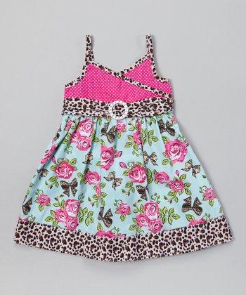Light Blue & Rose Floral Surplice Dress - Infant, Toddler & Girls