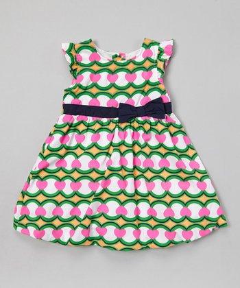 Green & Pink Bow A-Line Dress - Infant, Toddler & Girls