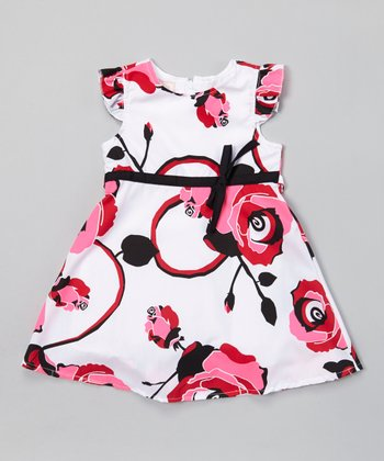 White & Magenta Rose A-Line Dress - Infant & Toddler