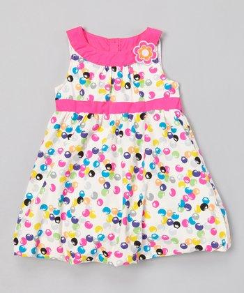 White & Pink Bubblegum A-Line Dress - Infant, Toddler & Girls