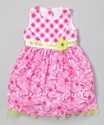 Pink Gingham Floral A-Line Dress - Infant, Toddler & Girls
