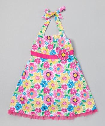 Pink & Aqua Floral Halter Dress - Infant, Toddler & Girls