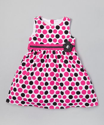 Magenta & Black Polka Dot A-Line Dress - Toddler & Girls