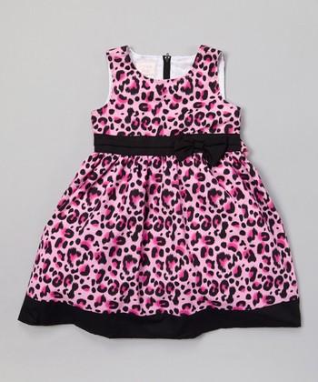 Pink & Black Leopard A-Line Dress - Infant, Toddler & Girls