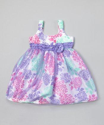 White & Lavender Floral Babydoll Dress - Toddler