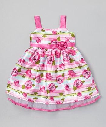 Pink Stripe Rose A-Line Dress - Toddler