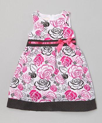 Pink & Black Rose Bow A-Line Dress - Toddler & Girls
