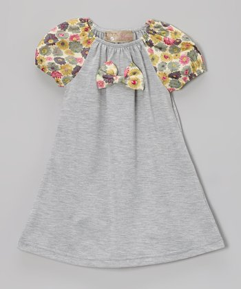 Gray Floral Bow Peasant Dress - Toddler & Girls