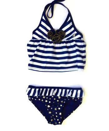 Navy & White Stripe Star Tankini - Infant, Toddler & Girls
