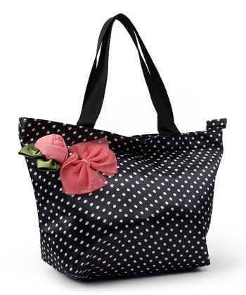 Black & White Polka Dot Flower Tote