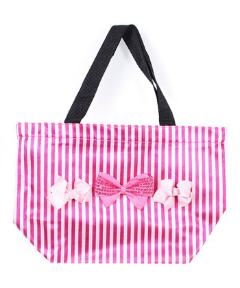 Pink Stripe Hong Kong Bow Tote