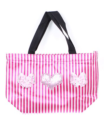 Pink Stripe Buenos Aires Heart Tote