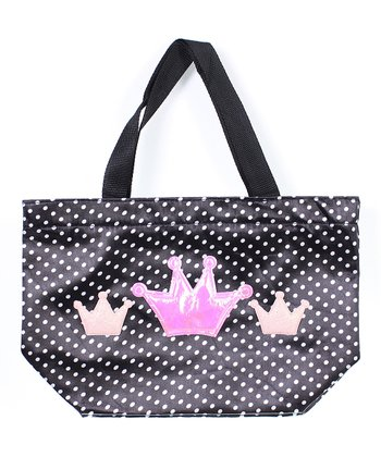 Black Polka Dot Sydney Crown Tote