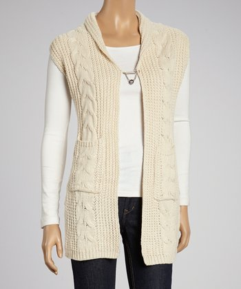 Beige Crochet Back Open Vest