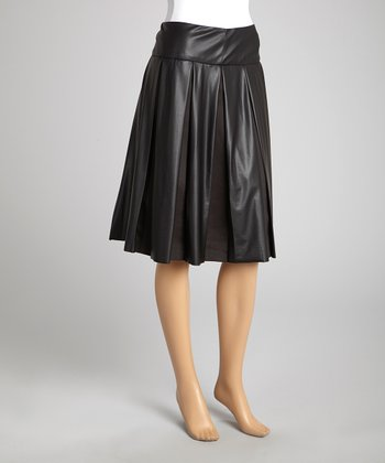 Black Sheen Pleat Skirt