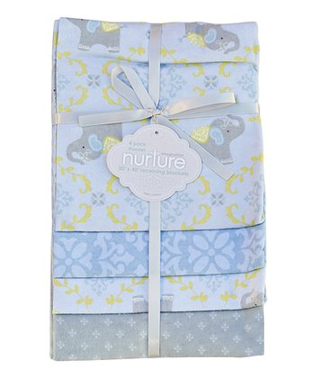 Blue Elephant Jubilee Receiving Blanket Set