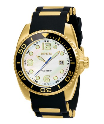 Gold & Black Pro Diver Three-Hand Pro Diver Watch - Men