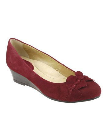 Deep Red Teaberry Suede Wedge