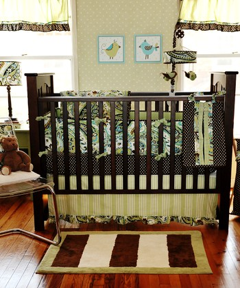 Lime Paisley Three-Piece Crib Bedding Set