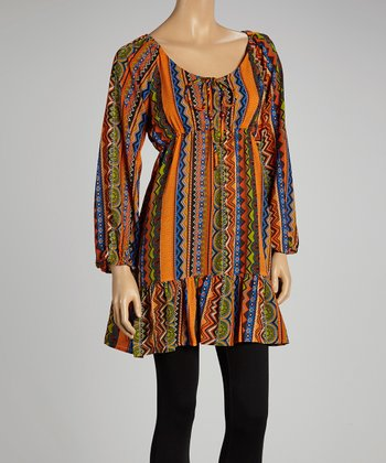 Rust Abstract Keyhole Peasant Tunic