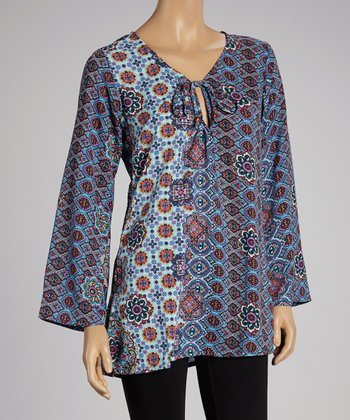 Blue Abstract Peasant Tunic