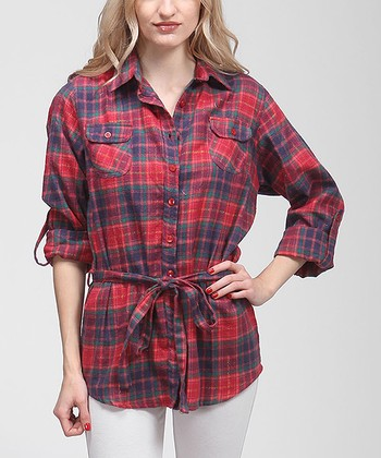 Red Plaid Flannel Button-Up