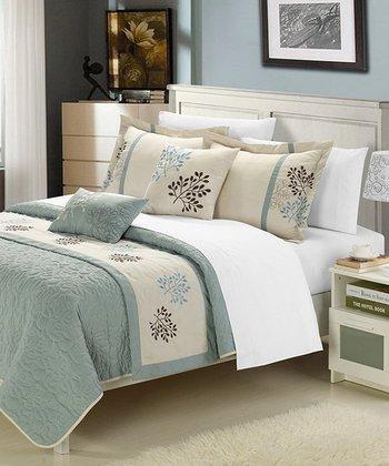 Sage & Beige Kirsten Embroidered Comforter Set