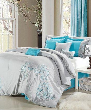 Gray Floral Comforter Set