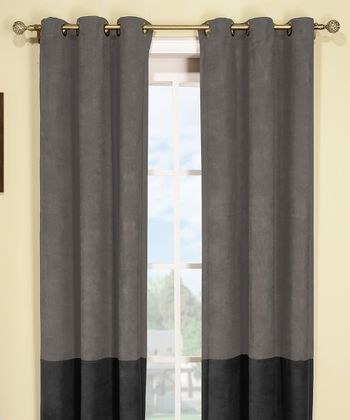 Silver & Black Wellington Thermal Curtain Panel - Set of Two