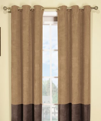 Mocha & Brown Wellington Thermal Curtain Panel - Set of Two